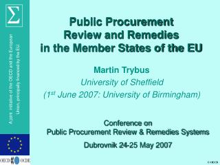 Public Procurement  Review and Remedies  in the Member States of the EU