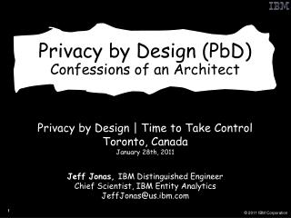 Privacy by Design PbD Confessions of an Architect