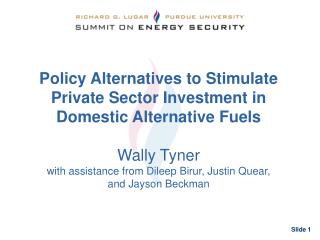 Policy Alternatives to Stimulate Private Sector Investment in Domestic Alternative Fuels Wally Tyner with assistance fro