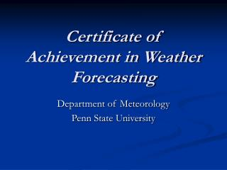 Certificate of Achievement in Weather Forecasting