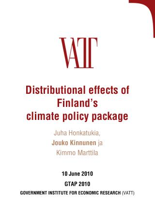Distributional effects of Finland s  climate policy package