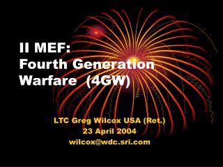 II MEF: Fourth Generation Warfare(4GW)