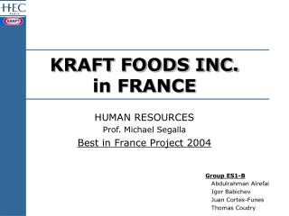 KRAFT FOODS INC. in FRANCE