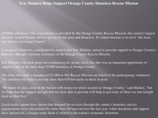 Eric Madura Helps Support Orange County Homeless Rescue Miss