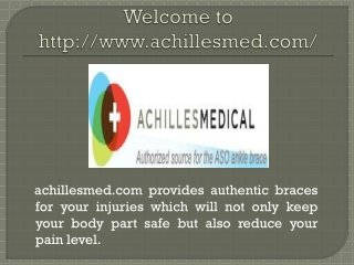 Visit For any information related achillesmed.com