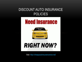 Discount Auto Insurance Policies