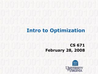 Intro to Optimization