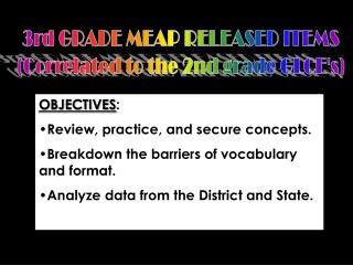 3rd GRADE MEAP RELEASED ITEMS (Correlated to the 2nd grade GLCE's)