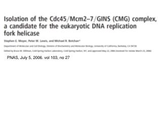 PNAS, July 5, 2006. vol 103, no 27