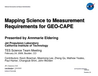 Mapping Science to Measurement Requirements for GEO-CAPE