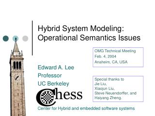 Hybrid System Modeling: Operational Semantics Issues