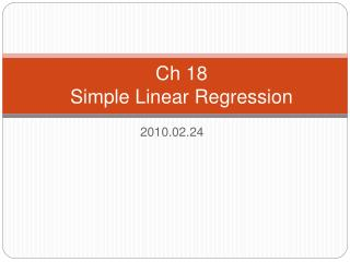 Ch 18  Simple Linear Regression