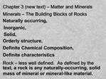 Chapter 3 new text   Matter and Minerals