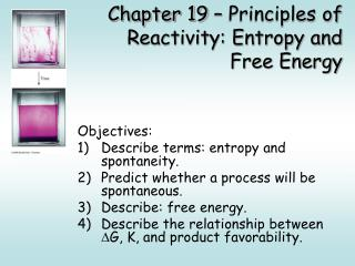 Chapter 19 – Principles of Reactivity: Entropy and Free Energy