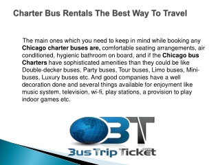 Charter Bus Rentals the Best Way To Travel