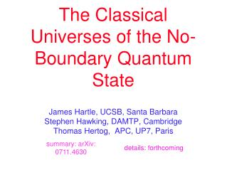The Classical Universes of the No-Boundary Quantum State