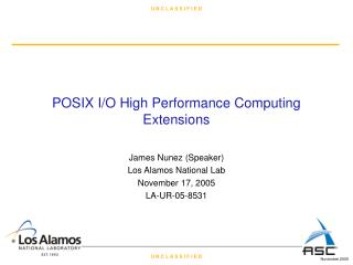 POSIX I/O High Performance Computing Extensions