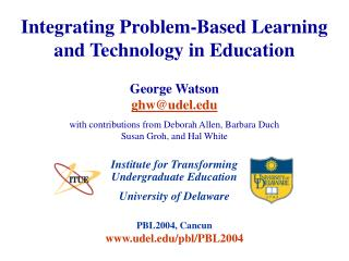 Integrating Problem-Based Learning and Technology in Education