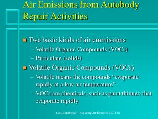 Air Emissions from Autobody Repair Activities