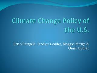Climate Change Policy of the U.S.