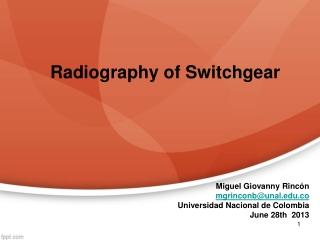Radiography of Switchgear