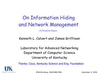 On Information Hiding  and Network Management
