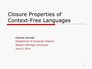 Closure Properties of Context-Free Languages