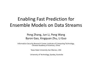 Enabling Fast Prediction for Ensemble Models on Data Streams