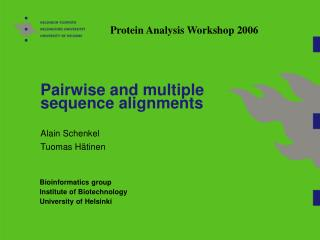 Pairwise and multiple sequence alignments