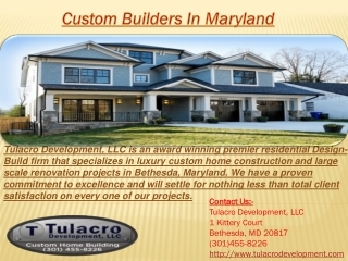 Custom Home Builders Maryland