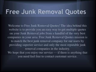 Free Junk Removal Quotes