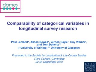 Comparability of categorical variables in longitudinal survey research