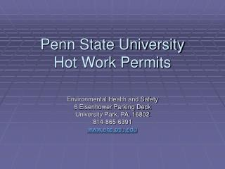 Penn State University  Hot Work Permits