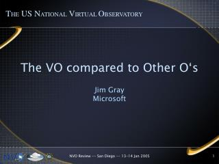 The VO compared to Other O's