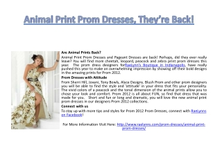 Animal Print Prom Dresses, They're Back!