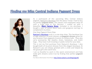 Finding my Miss Central Indiana Pageant Dress