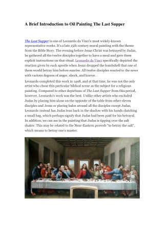 A Brief Introduction to Oil Painting The Last Supper