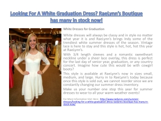 Looking For A White Graduation Dress