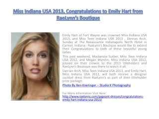 Miss Indiana USA 2013, Congratulations to Emily