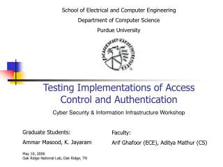 Testing Implementations of Access Control and Authentication