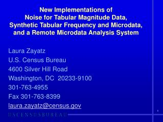New Implementations of  Noise for Tabular Magnitude Data, Synthetic Tabular Frequency and Microdata,  and a Remote Micro