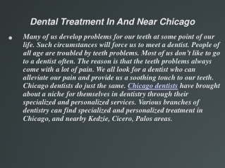 Dental Treatment In And Near Chicago