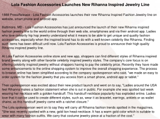 Lola Fashion Accessories Launches New Rihanna Inspired Jewel