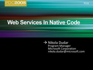 Web Services In Native Code