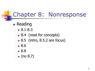 Chapter 8: Nonresponse