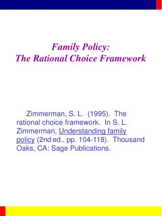 Family Policy: The Rational Choice Framework