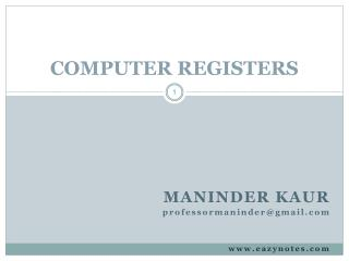 COMPUTER REGISTERS