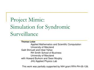 Project Mimic: Simulation for Syndromic Surveillance