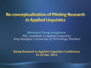 Re-conceptualization of Piloting Research in Applied Linguistics