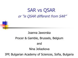 "SAR vs QSAR or ""is QSAR different from SAR"""